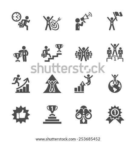 business success icon set, vector eps10. - stock vector