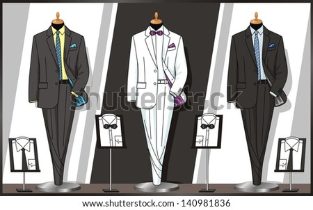 Business suits on dummies stand in a shop show-window - stock vector