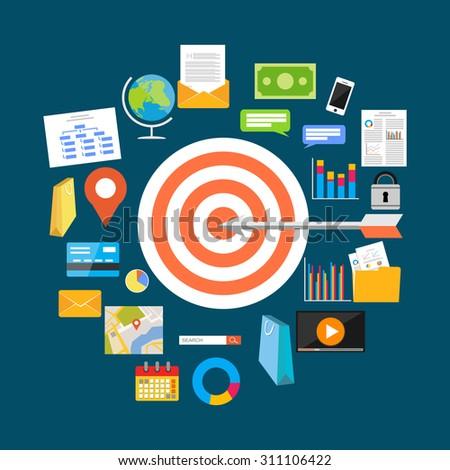 Business target concept illustration. Flat design illustration.  - stock vector