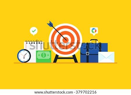 Business target, Strategy, Goal. Flat design modern vector illustration concept. - stock vector