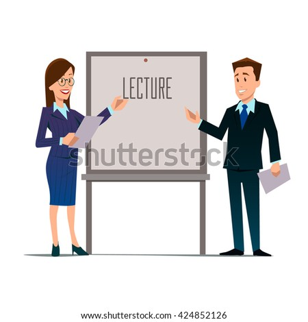 business teachers, woman and man giving a lecture or presentation, front view of whiteboard with documents in hands, modern flat style, cartoon character, vector illustration - stock vector