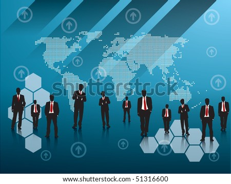 business team blue background