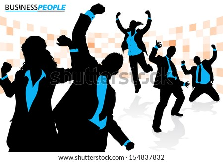 Business Team Enjoying Success. Business People is a new series of High End business graphics that are updated every month. Each Element is placed on a separate layer for easy to use editing. - stock vector