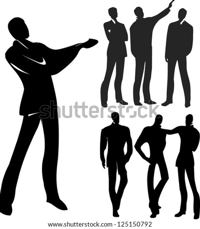 business team formed of young businessmen - stock vector
