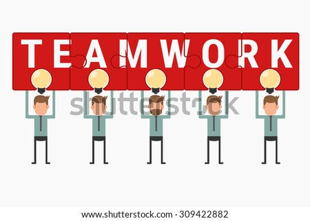 Business team hold and showing puzzle teamwork above light bulb idea. Cartoon Vector Illustration. - stock vector