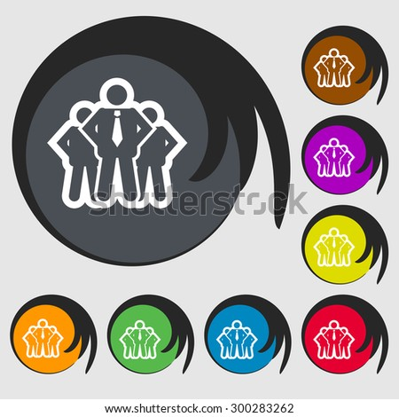business team icon sign. Symbol on eight colored buttons. Vector illustration - stock vector