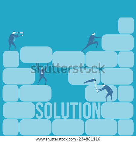 Business team look far for solution  - stock vector