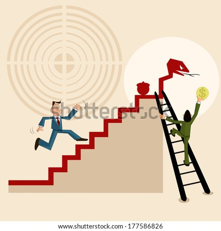 Business team making way for profit, Teamwork and Profit making - stock vector