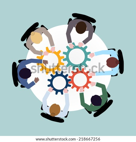 Business team meeting cooperation concept top view group people on table with cogwheels vector illustration - stock vector