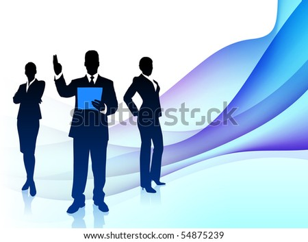Business Team Musician on Abstract Flowing Background Original Illustration