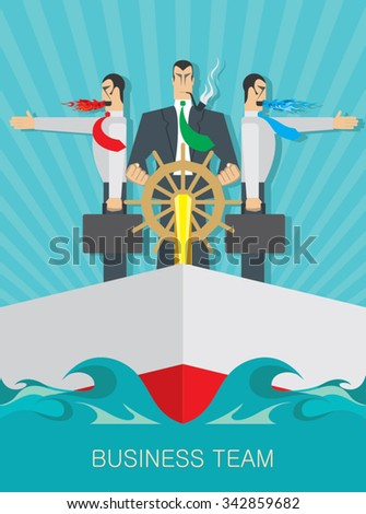 business team professionals on a boat - stock vector