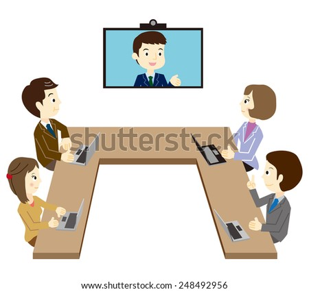 Business team that has a TV conference - stock vector