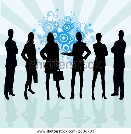 Business Team - vector silhouette illustration - stock vector