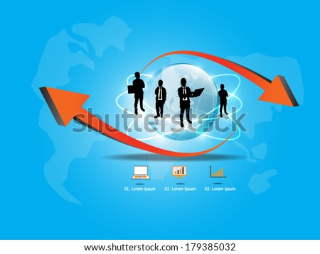 Business team with business world  - stock vector