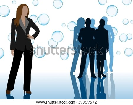 Business team with rising bubbles - original concept - full vector - stock vector