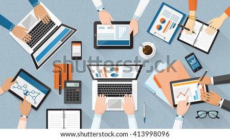 Business team working together at office desk, they are using laptops and checking financial reports, corporate management and accounting concept - stock vector