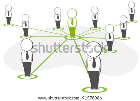 business teamwork concept in social networking - stock vector