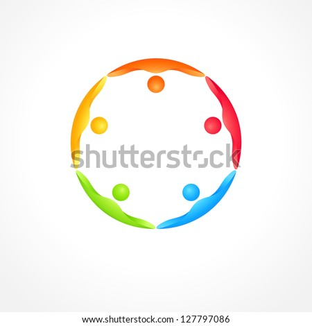 Business teamwork icon. People holding hands of each other. Vector concept. - stock vector
