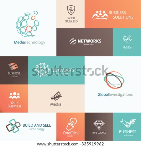 business, technology and social media emblems and banners template set - stock vector