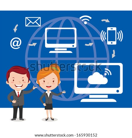 Business, technology connectivity concept. Vector illustration of business people working in the computer technology. - stock vector