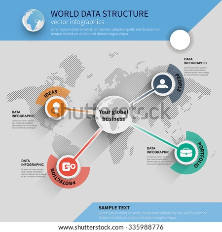 business template infographic on the world map - stock vector