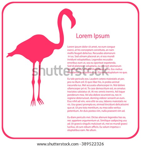 Bright pink flamingo graphic on white stock vector 194537957 business template pink flamingo vector illutration pronofoot35fo Images