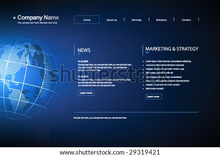 Business template web site. - stock vector