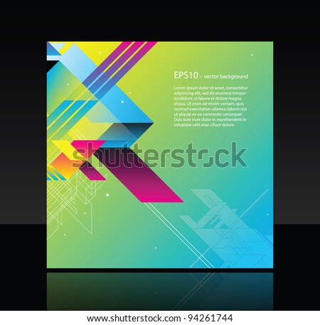 Business template with abstract object on green background - stock vector