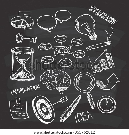Business themed doodle on chalkboard background