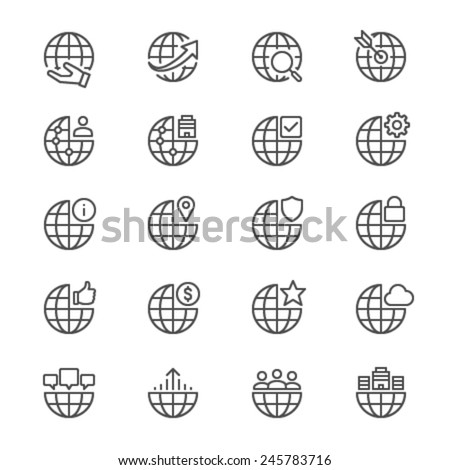 Business thin icons - stock vector