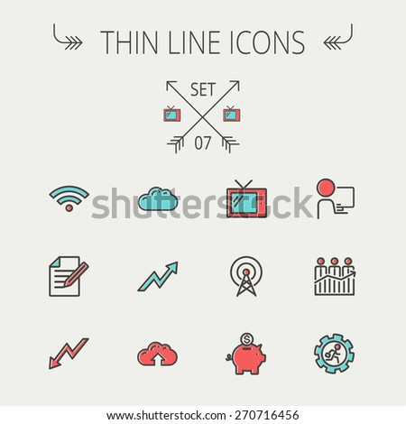 Business thin line icon set for web and mobile. Set includes- wifi, notepad, cloud arrows, antenna, money, gear icons. Modern minimalistic flat design. Vector icon with dark grey outline and offset - stock vector