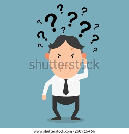 business thinking with question marks,illustration vector - stock vector