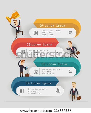 Business Timeline Template Cartoon Figures Vector Stock Vector