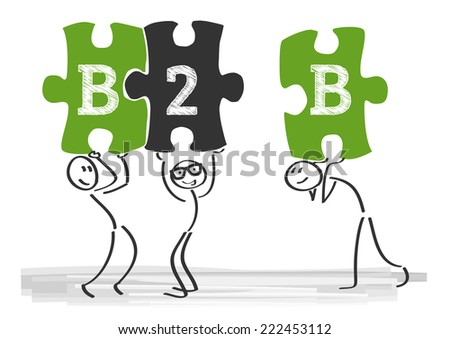 Business-to-business (B2B) describes commerce transactions between businesses - stock vector
