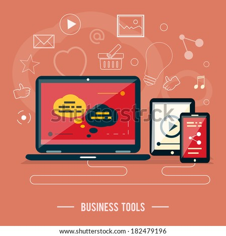 Business tools concept. Poster concept with icons of business tools, device  in flat design