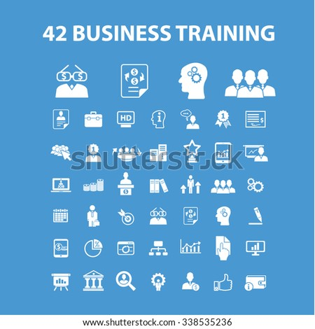 business training  icons, signs vector concept set for infographics, mobile, website, application  - stock vector