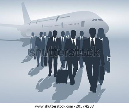 business travelers - stock vector