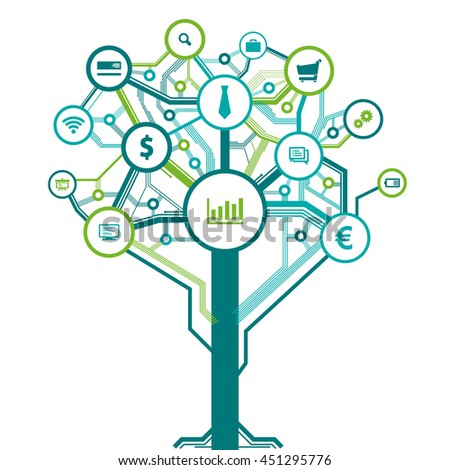 Business tree symbols as digital technology layout. Vector elements for infographics, designs or flyers.