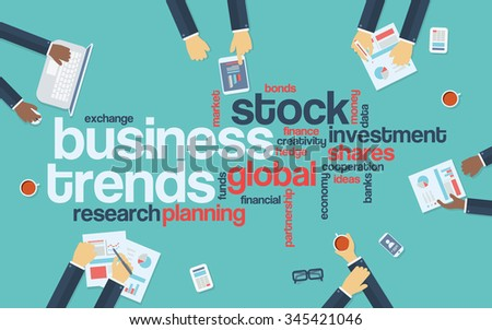 Business trends flat design infographics with word cloud. Global data analysis and research presentation. Eps10 vector illustration. - stock vector
