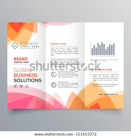 Business Trifold Brochure Template Soft Pink Stock Vector 551653372