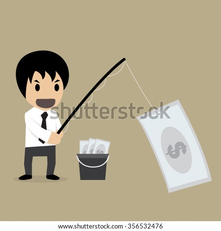 Business use money for fishing,vector illustration - stock vector
