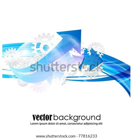business vector background with gears and arrows - stock vector
