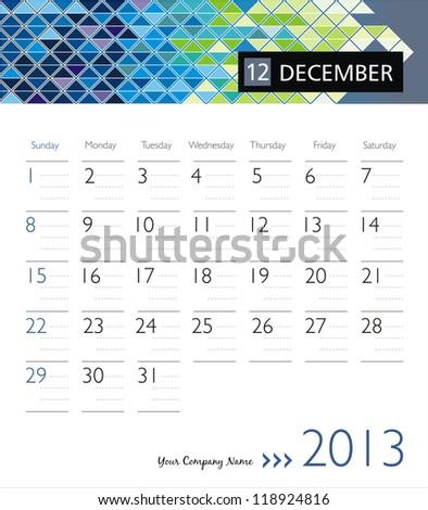 Business vector calendar 2013. December - stock vector