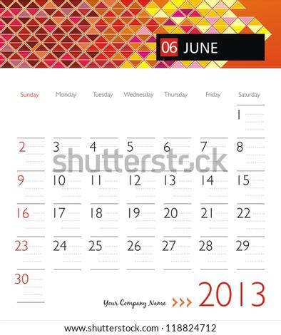 Business vector calendar 2013. June - stock vector