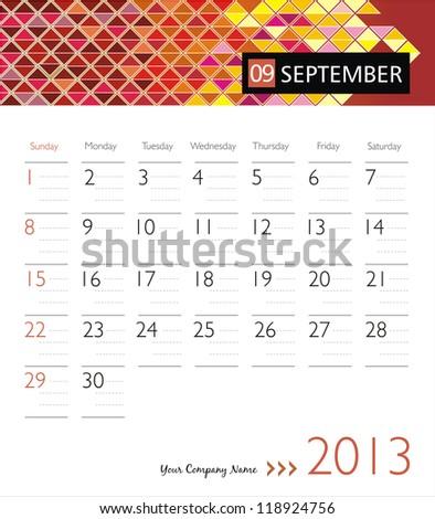 Business vector calendar 2013. September - stock vector
