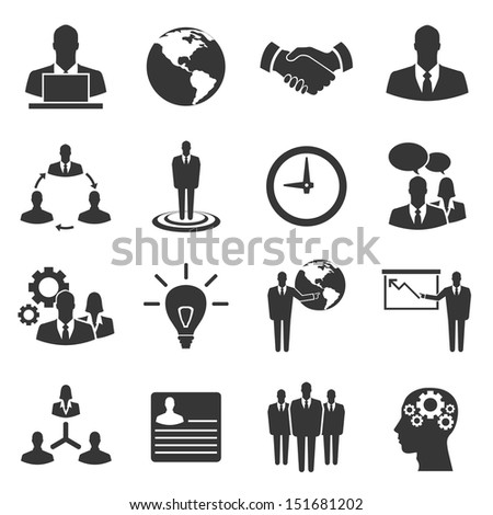 Business vector icon set on white background - stock vector