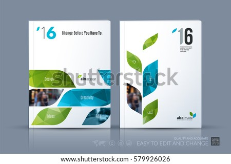 Business vector template. Brochure layout, cover modern design annual report, magazine, flyer in A4 with green dynamic geometric shapes for business with abstract texture background. Set