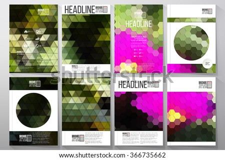 Business vector templates for brochure, flyer or booklet. Pink flowers on the grass. Abstract multicolored backgrounds. Natural geometrical patterns. Triangular and hexagonal style vector
