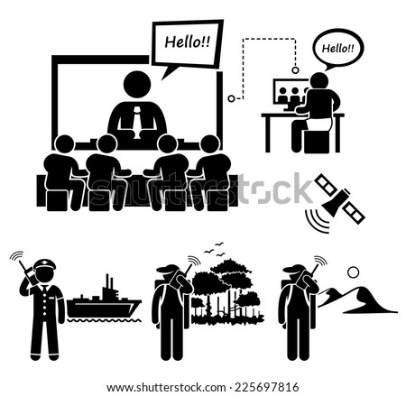 Business Video Conferencing and Man Using Satellite Phone Stick Figure Pictogram Icons - stock vector
