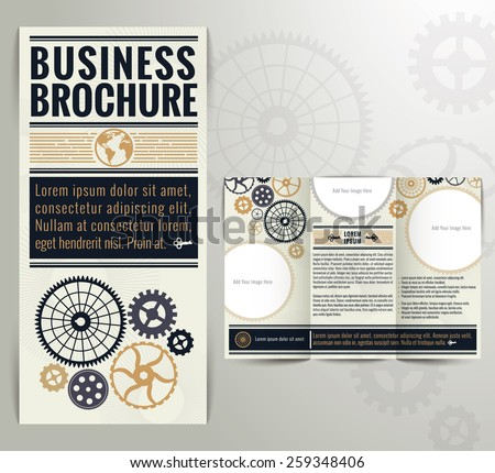 Business Vintage Brochure Flyer Design Template. Vintage style with classic colours. - stock vector
